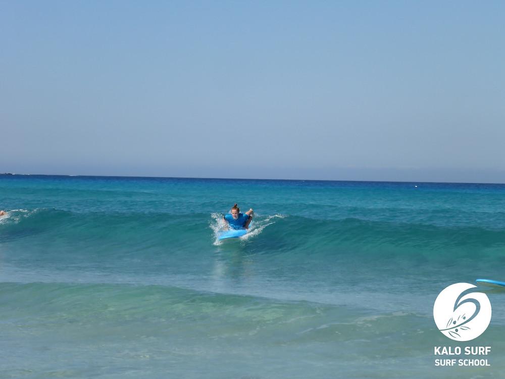 glassy waves for surfing in Falasarna Crete