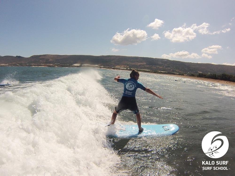 intermediate surfing on the reef break in Crete