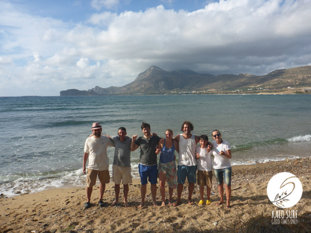 Surf students pose for a group picture in Crete