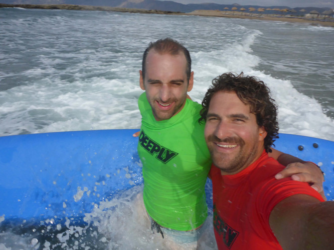 Playing in Waves with Friends - Kalo Surf Surfschool