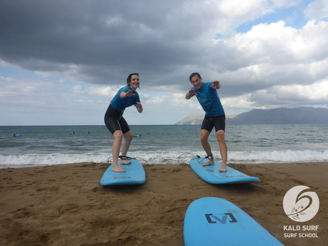 Wellenreiten am Freitag Nachmittag in Kissamos auf Kreta