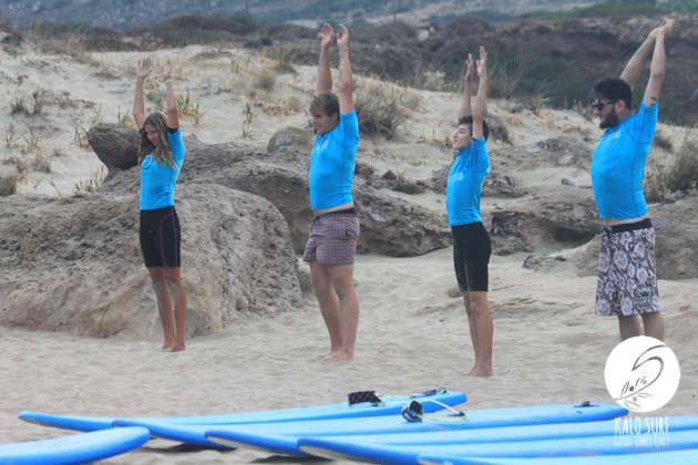 warm up before the surf lesson