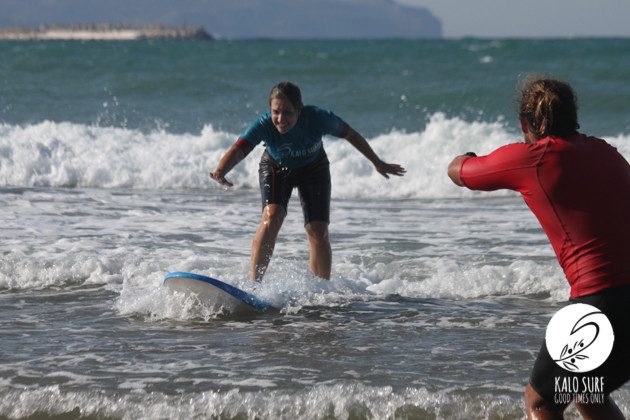 first wave for surfer girl in kissamos