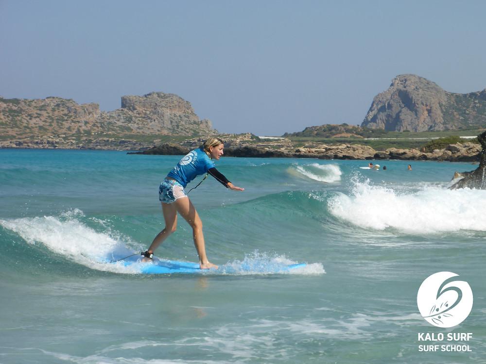 Surfing glassy waves in Falasarna Crete