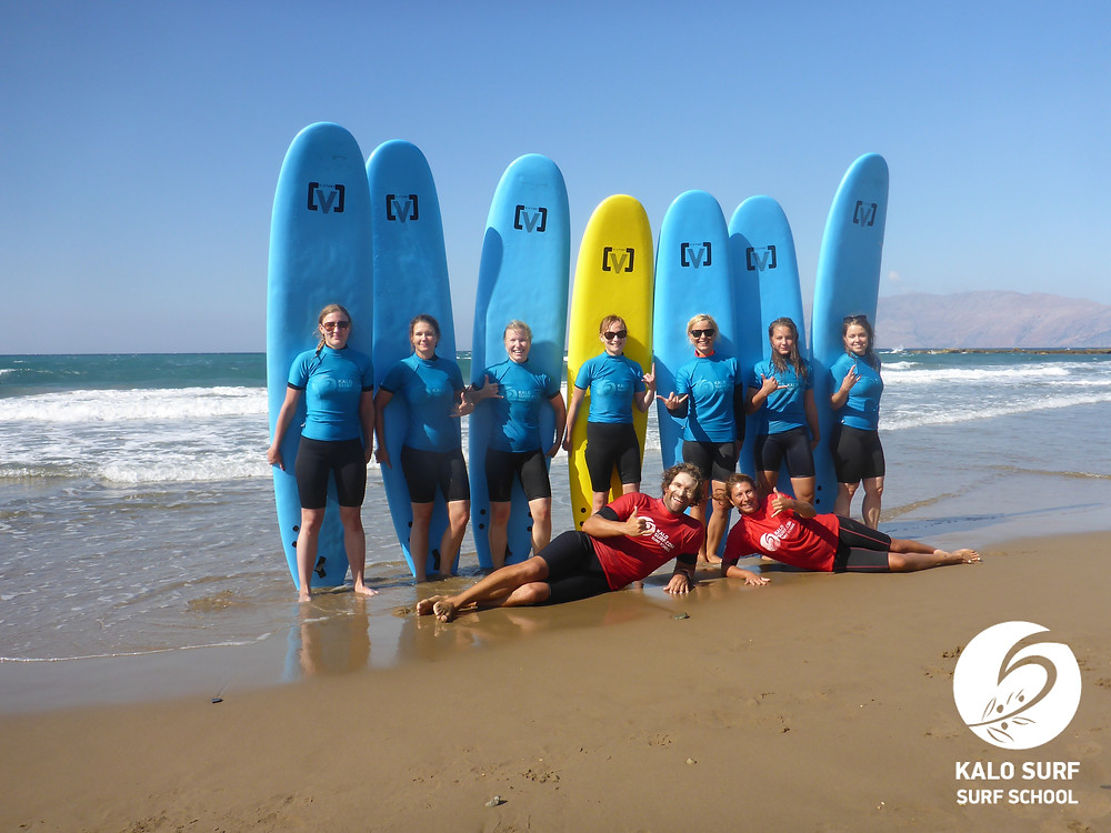 group picture with surfboards
