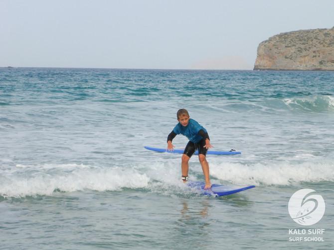 Wellenreiten am Samstag Morgen in Kreta