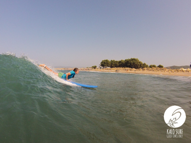 girl on surfboard take off in kissamos