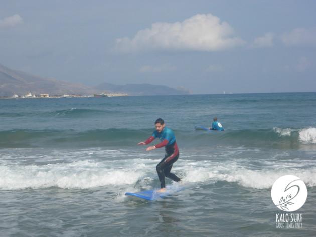 surfing in Crete, waves, sea, sunshine