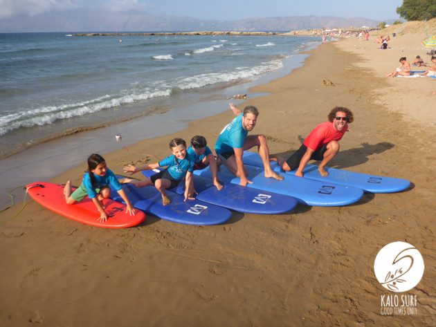 kids surfing in Crete