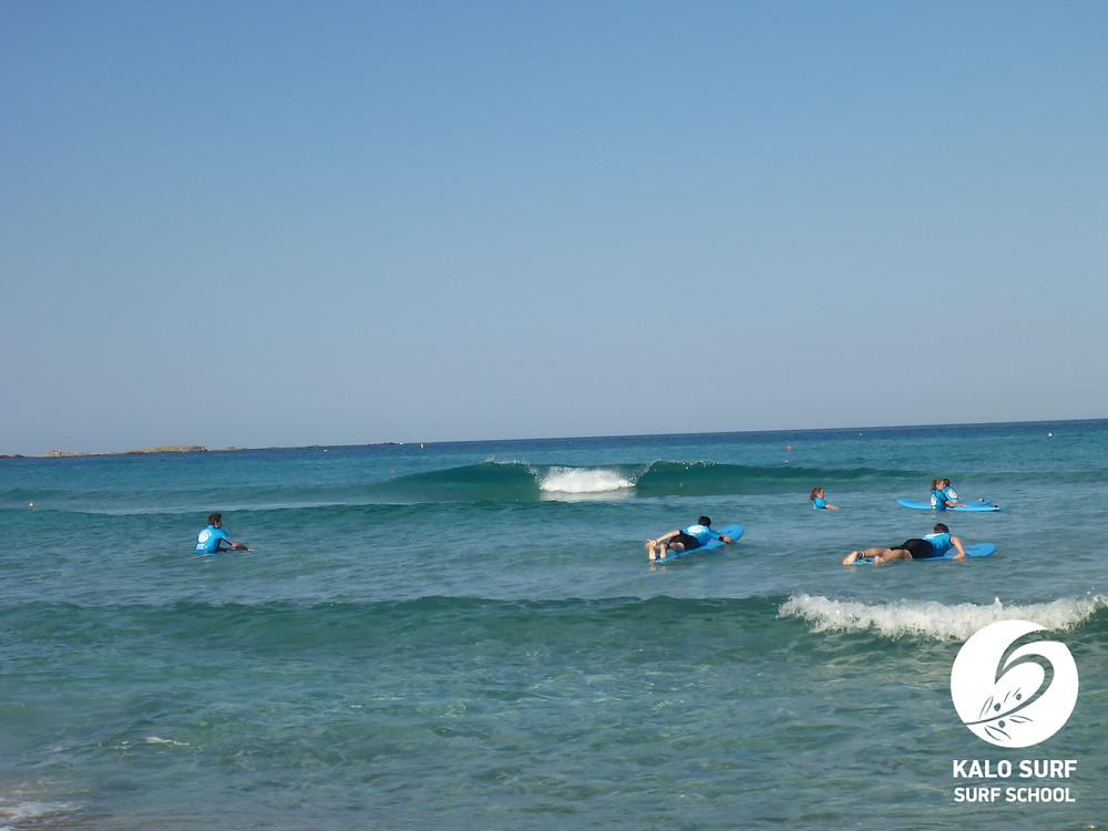 glassy green waves in Falassarna, Crete