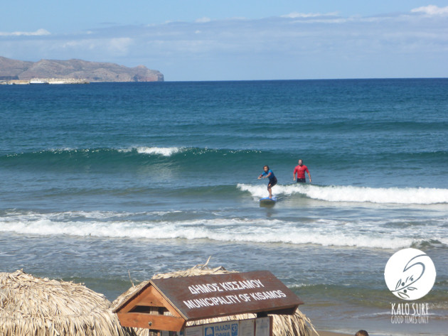 Surfing in the bay of Kissamos