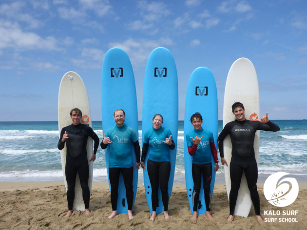 group photo in Falassarna in May with Surfboards