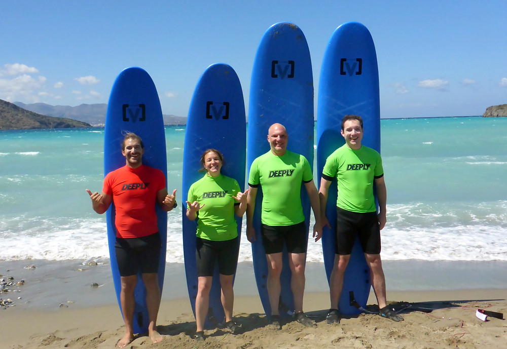 Group picture after surfing in Kissamos