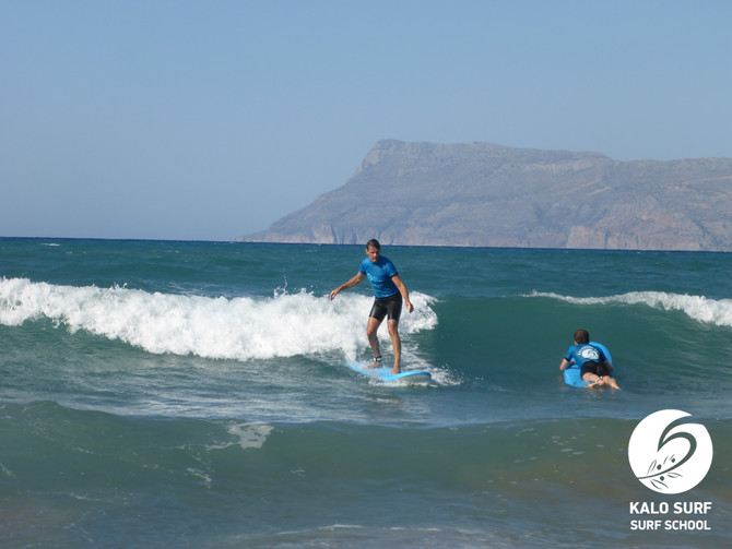 Surfing in Crete - green waves and white water