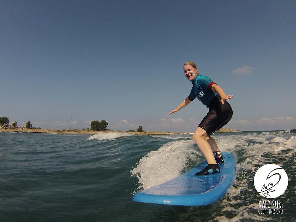 Surfing Reef Break Crete Happy Face Surfergirl