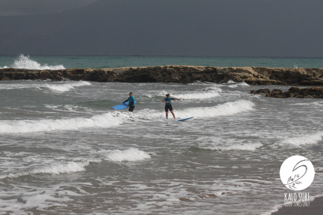 Lena surfing in the bay of Kissamos