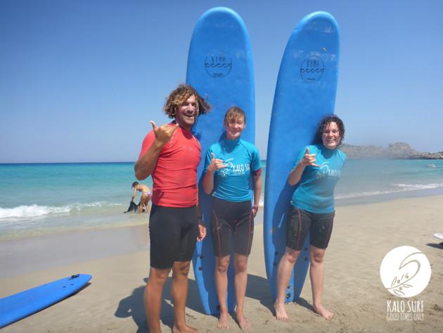 surfers posing in Crete