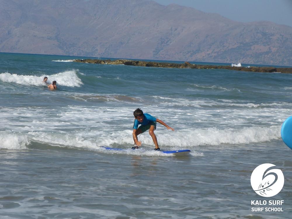 10 year old child surf lesson Crete