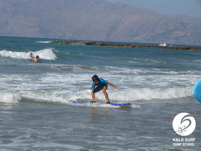 First time surfing in Crete