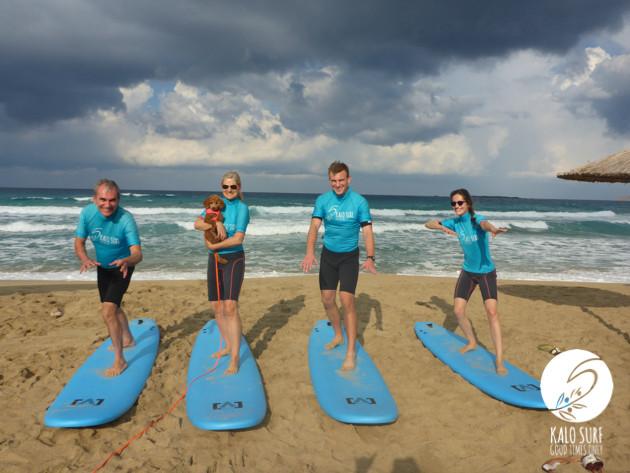 family surfing, Crete, waves, Falassarna