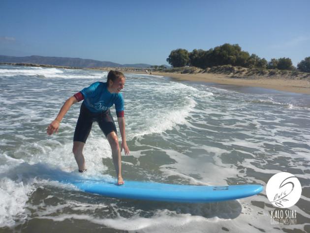 Surfing in Kissamos, surfer girl, soft top