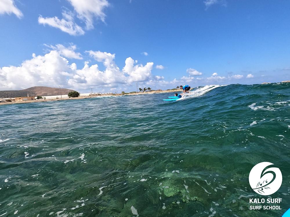 reef break surfing in Crete