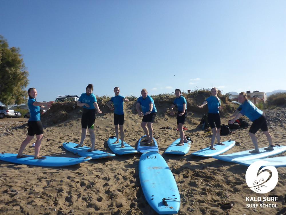 group picture surf lesson, Crete