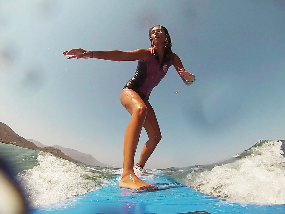 GoPro picture of surfing girl
