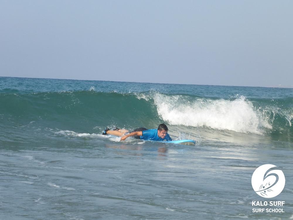 Surfing in Crete, Wave, paddling, surfboard