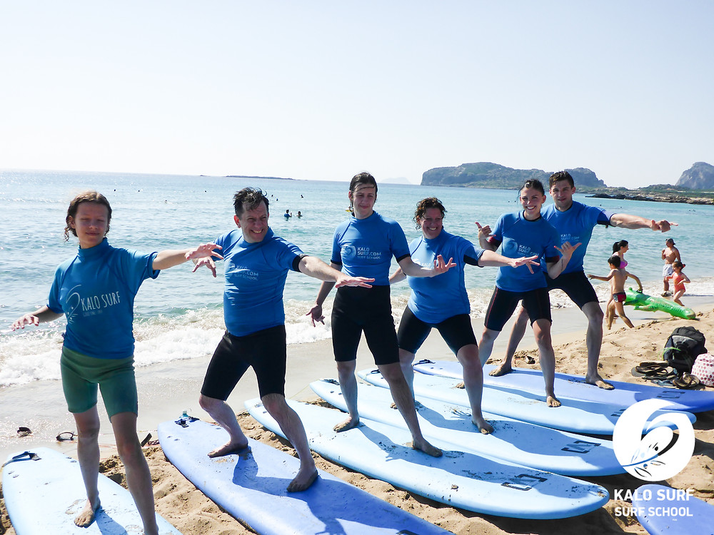 group photo surf lesson in Crete
