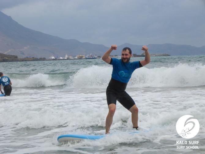 Wellenreiten im Oktober in Kissamos