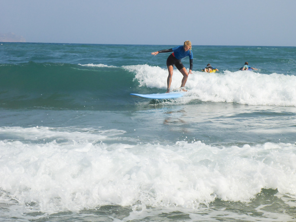 surfing a green wave in Crete
