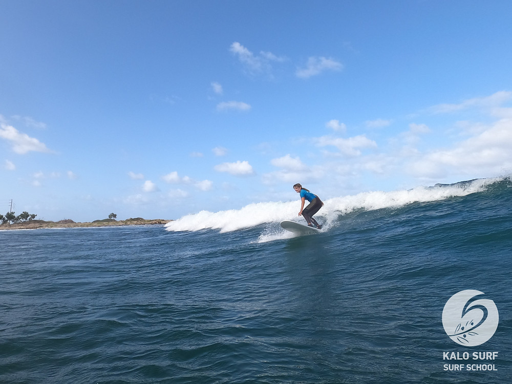cutback during the surf lesson in Crete