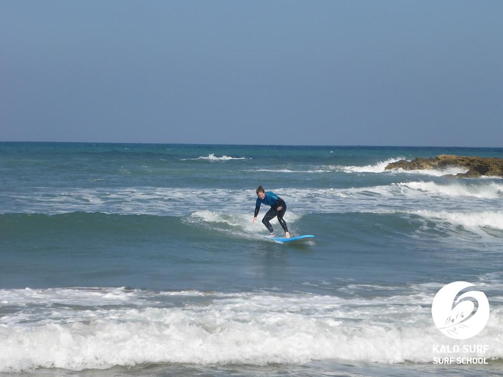 take off on a point break, surfing in Greece