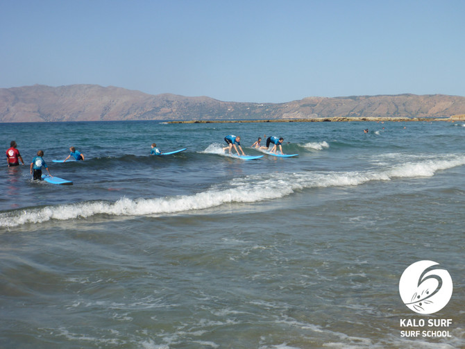 Surfing lesson in August in Greece