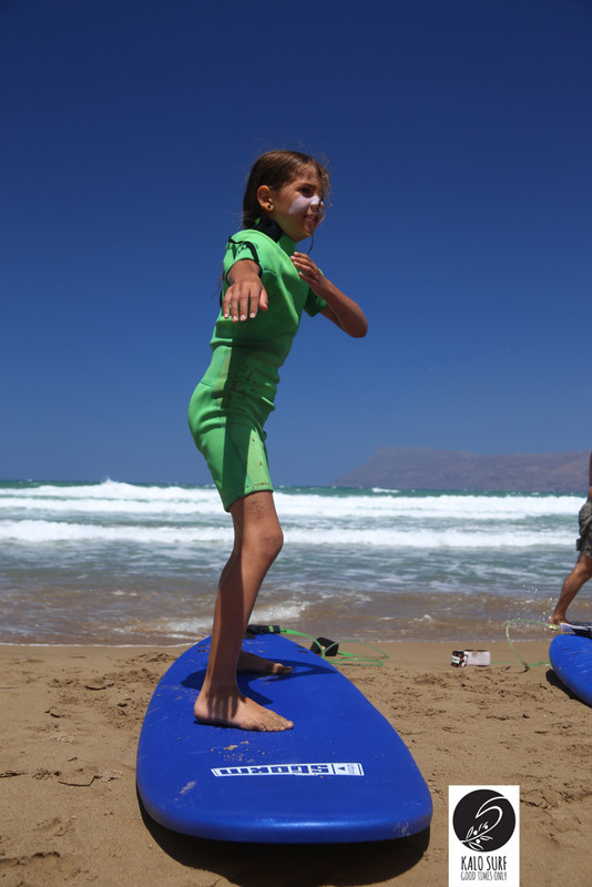 Clear Blue Sky and Kids Surfing
