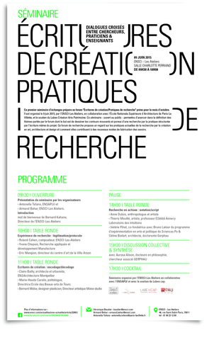 programme  Ecritures de création - Pratiques de recherche - 2015