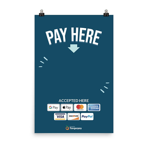 Pay Here Poster - Navy