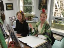 Art class in Debs' studio.