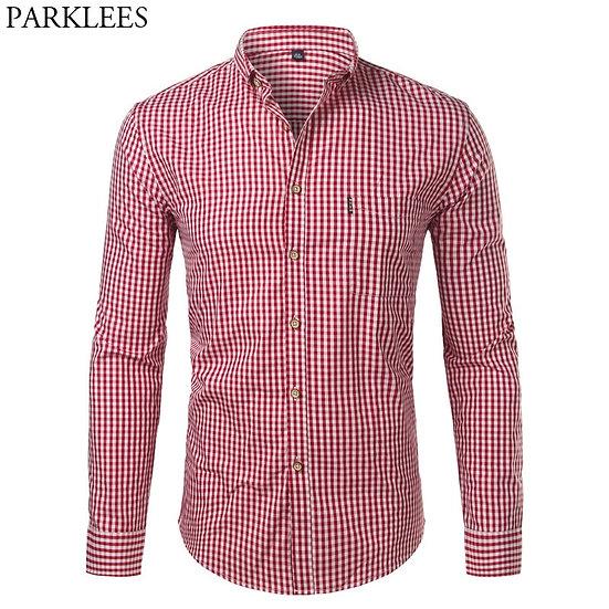 Mens Plaid Cotton Casual Slim Fit Long Sleeve Button Down