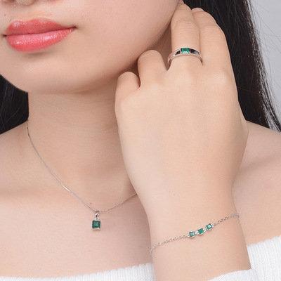 V008-1 4mm Natural Square Green Chalcedony 925 Sterling Silver Earrings Ring Bra