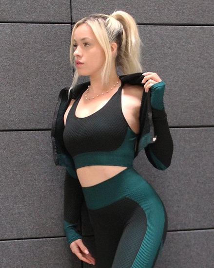 Trois Seamless Sports Jacket - Black With Teal Blue