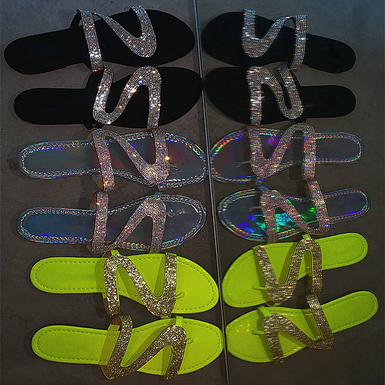S9060 Female sandals 2019 new European and American crystal slippers sandals bea