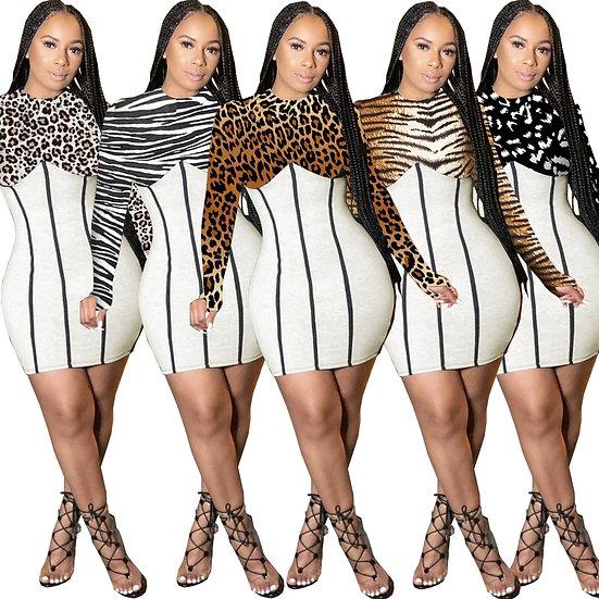 Long Sleeve Round Neck Mini Dress Spliced Leopard Print Club Dress