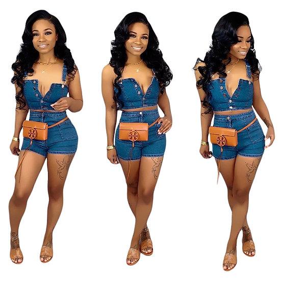 Summer hot style blue denim women halter top short shorts twopiece set