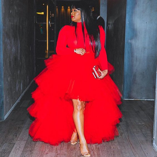 Red High Low Tulle Skirt