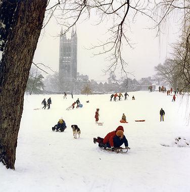 Sledders on Princeton University campus