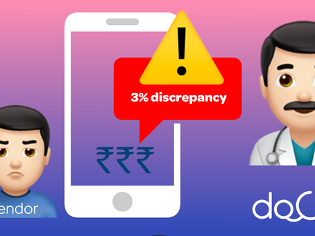 Docterz alerts you if your vendor bills you 3% higher.