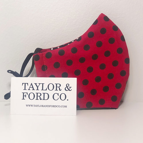 Red & Black Polka Dot Mask