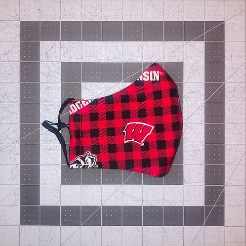 Wisconsin Badgers Plaid Mask